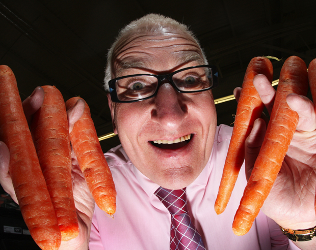 'WHAT A WASTE': Sainsbury's Lordshill store manager Gordon Silvester has been told not to sell scary veg at Hallowe'en.