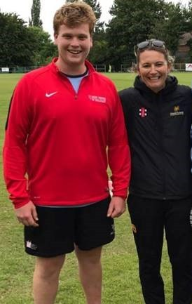 Matthew Ellerby with Charlotte Edwards, former England Women's Cricket captain