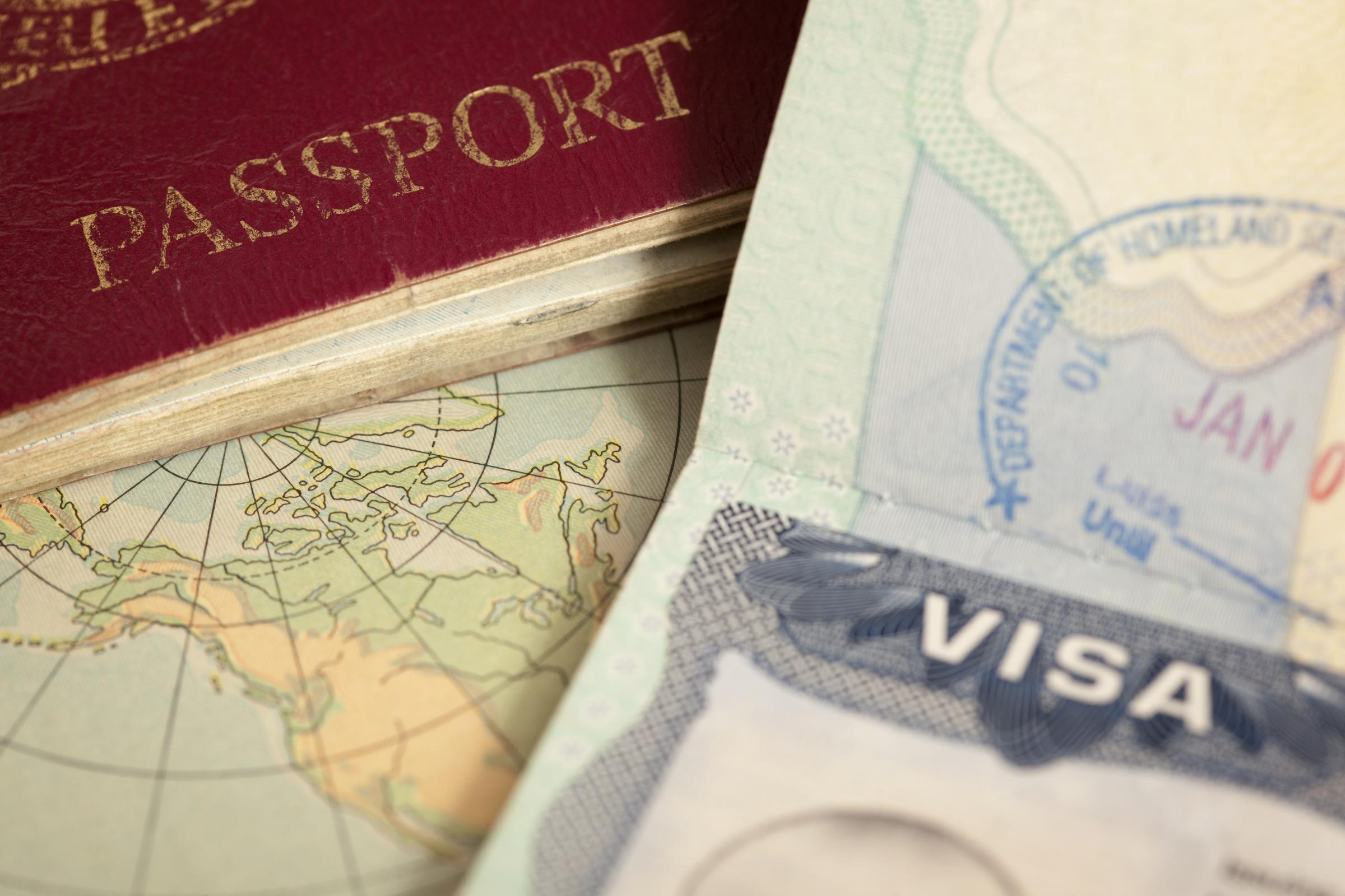 """US visa, vintage map and passport background""."