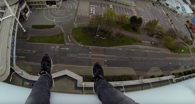 An image from Ally Law's video of him climbing West Quay.