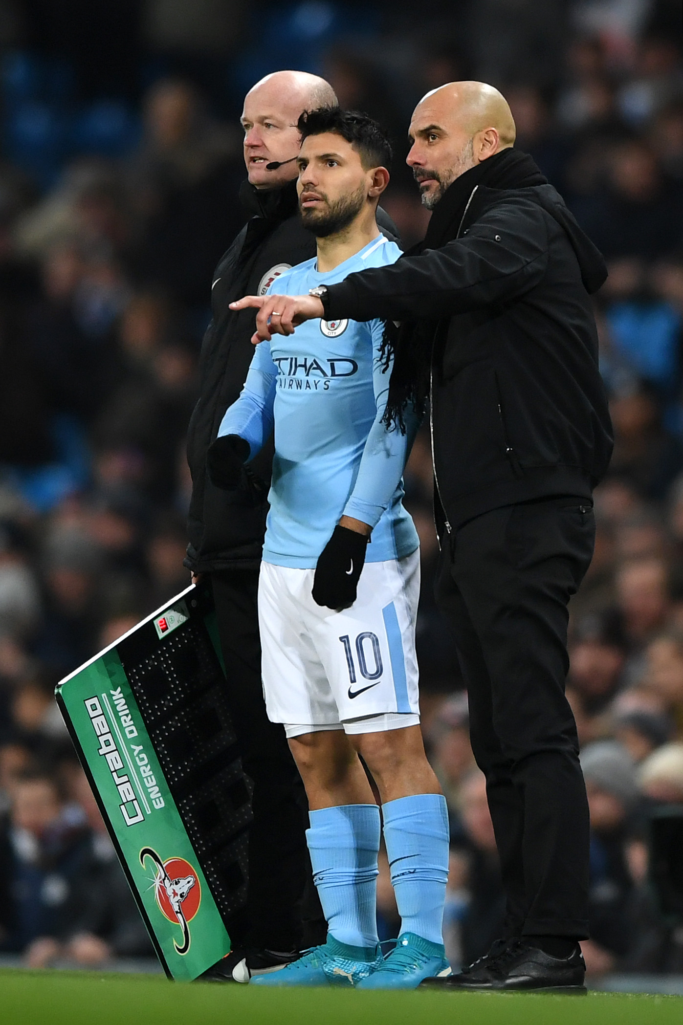 Manchester City star Sergio Aguero and manager Pep Guardiola