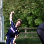 Daily Echo: Tom Scriven bowling. St Cross Symondians v Hampshire Academy                                    Picture: Chris Moorhouse.
