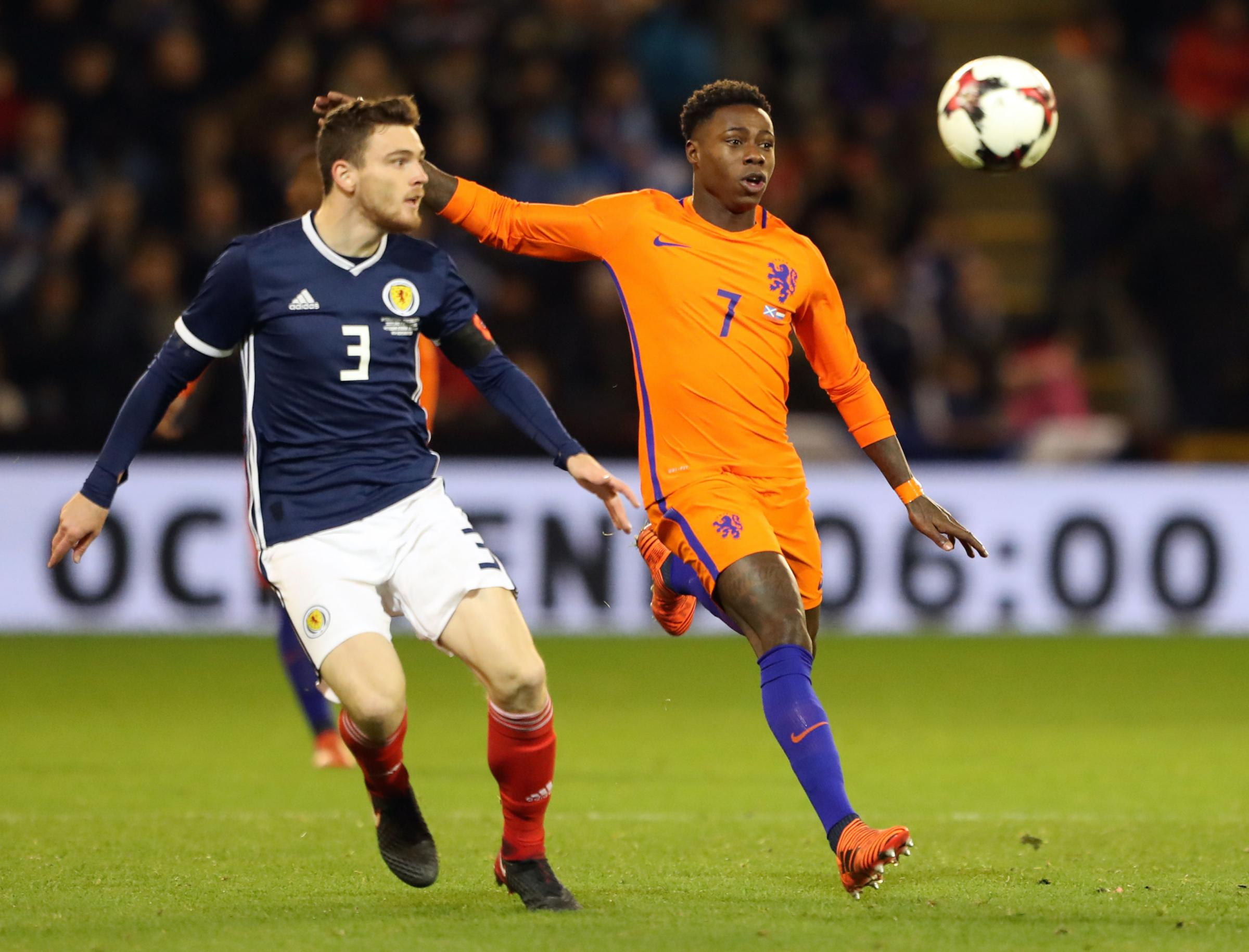 Quincy Promes, right, in action for the Netherlands