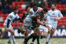 Leicester Tigers' Mike Williams is tackled by Racing 92's Leone Nakarawa during the European Rugby Champions Cup, Pool Four match at Welford Road, Leicester.