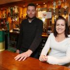 Daily Echo: Phot Stuart Martin -  Watering Hole Feature at the Saxon Inn pub in Calmore - Ben Bran and Jayne Anderson pictured behind the bar.