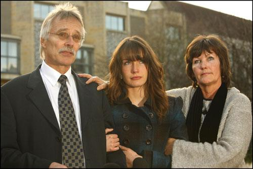 Trevor and Hilary Foster with daughter Sarah outside Winchester Crown Court today.