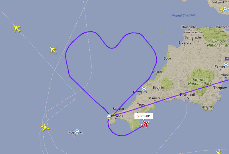 map Virgin flight
