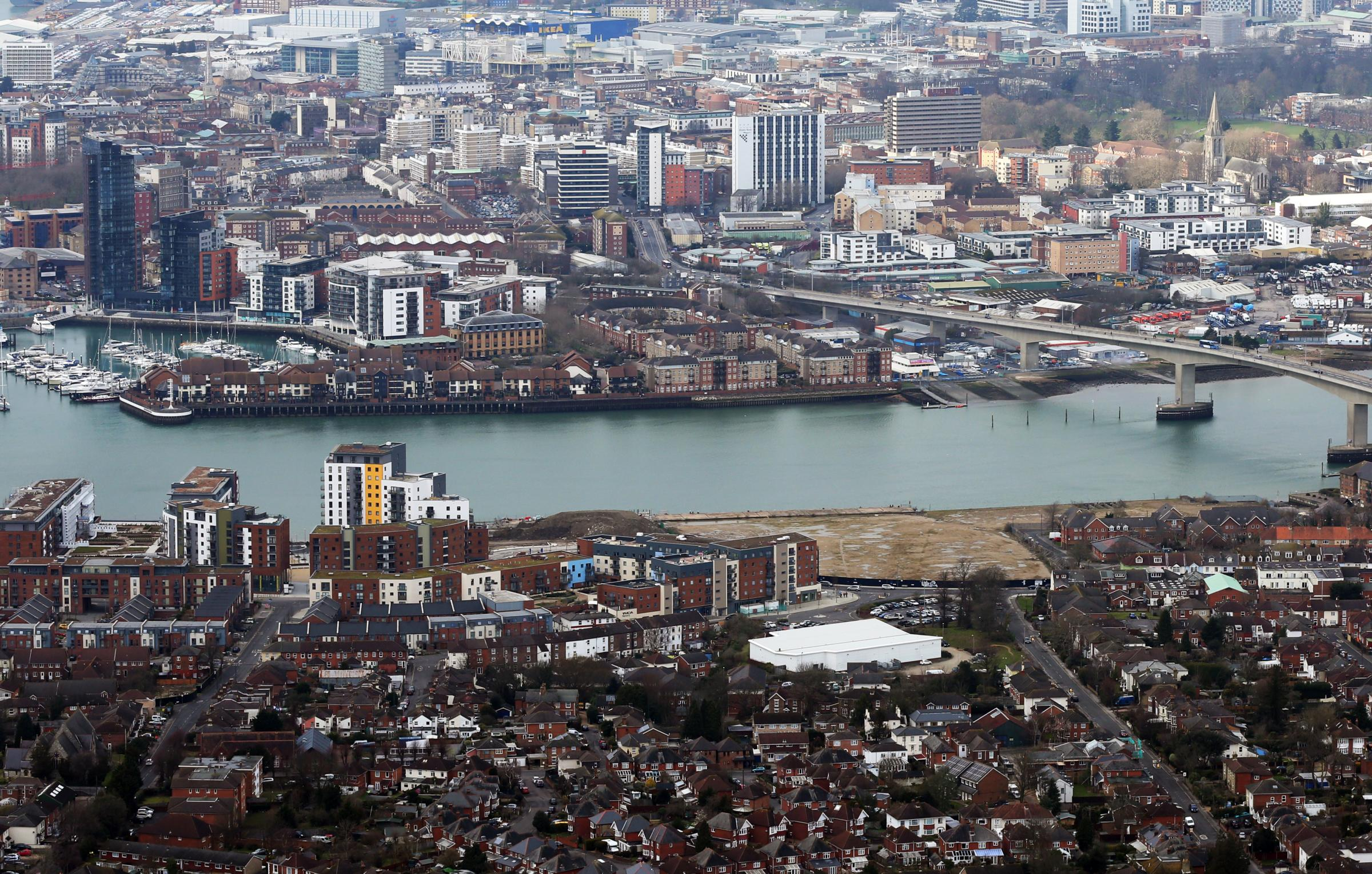 9 March 2016 - Photo Stuart Martinv - Aerial view of Woolston and Southampton the Itchen Bridge and Centenary Quay