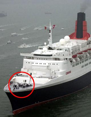 SECURED: QE2, with her two anchors circled.