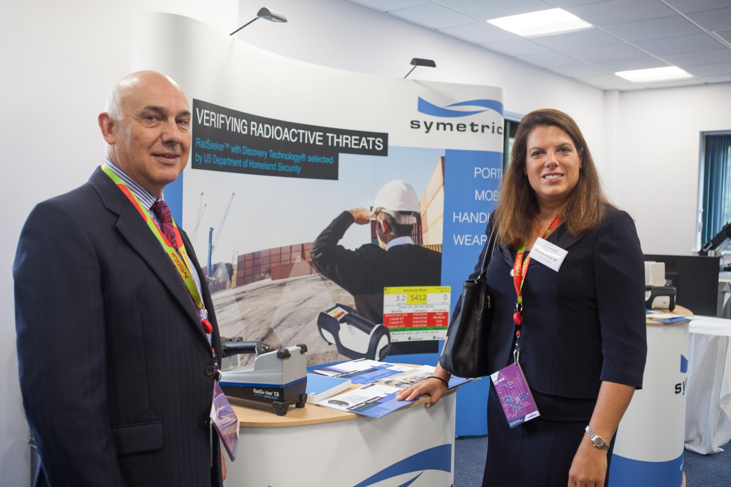 Heddwyn Davies, Chief Executive Officer of Symetrica, shows Romsey and Southampton North MP Caroline Nokes around the firm's North Baddesley headquarters