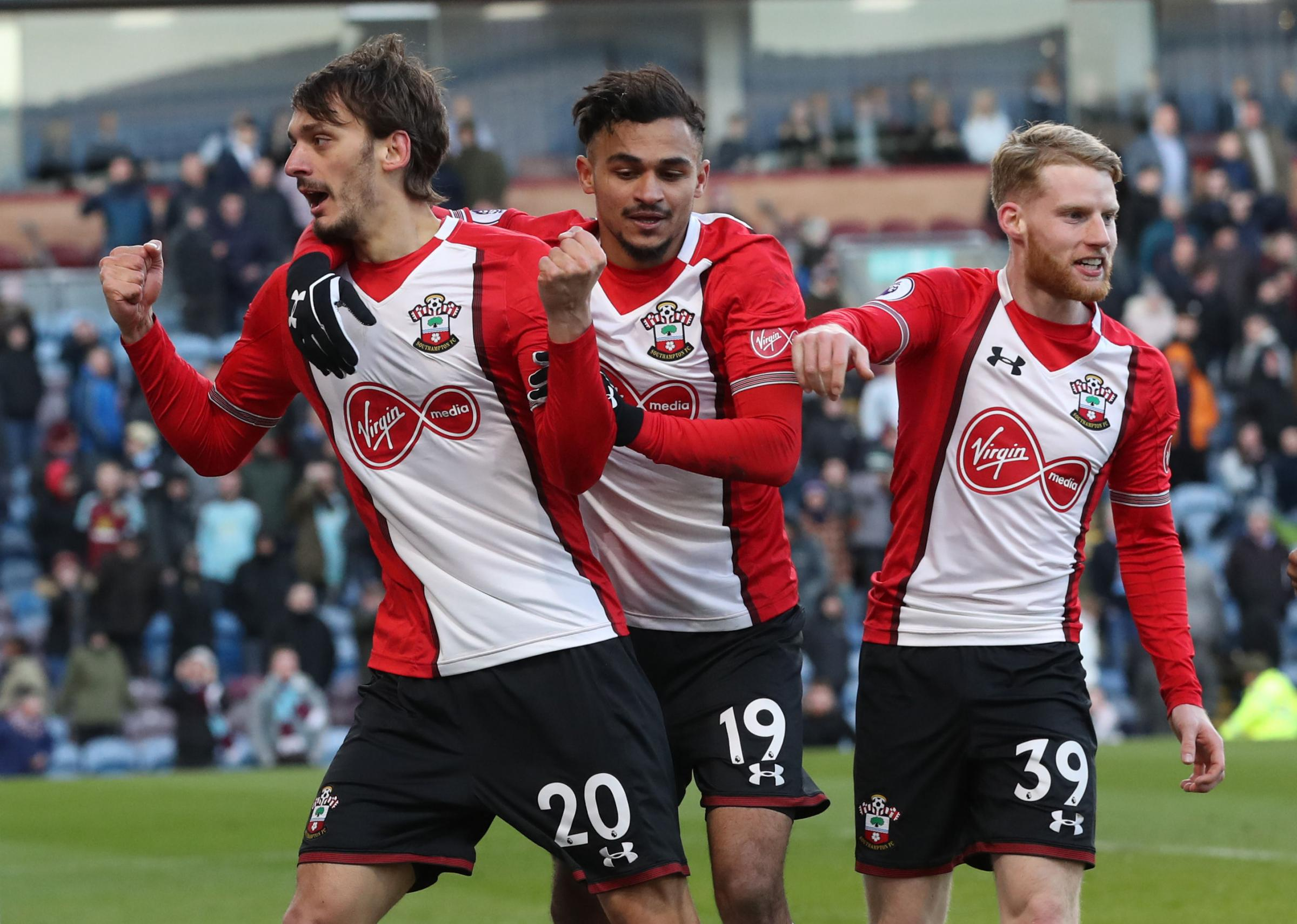 Manolo Gabbiadini celebrates his equaliser at Turf Moor