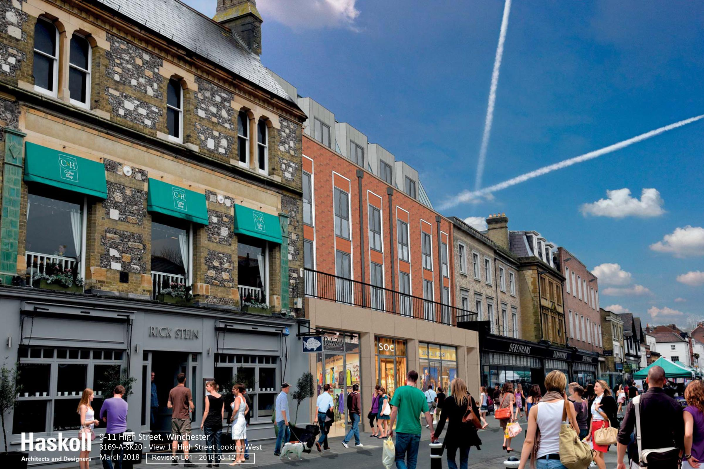 An artist's impression of hotel under the amended proposals from High Street, Winchester