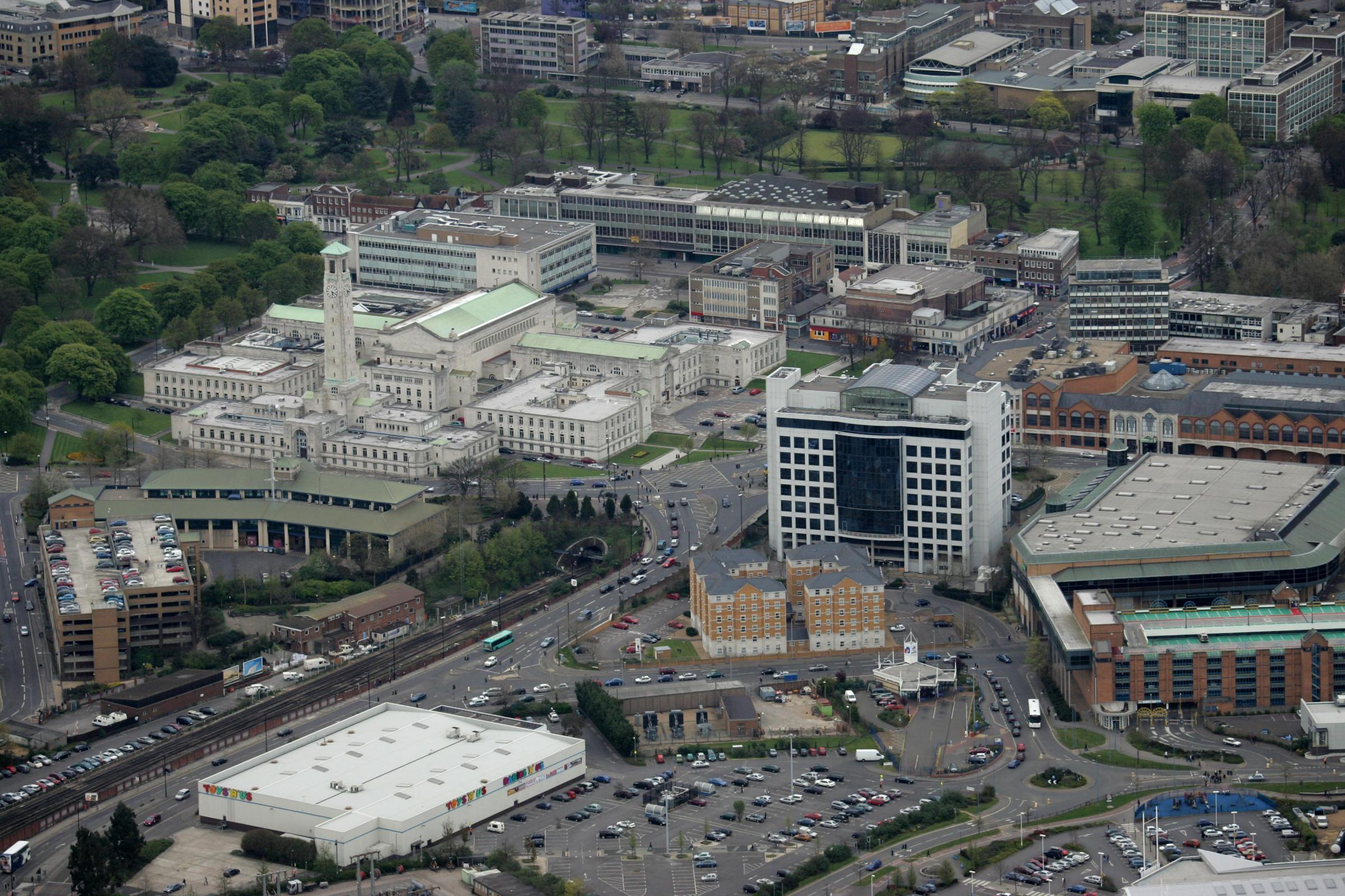 Aerial eye in the sky pics - Southampton  - Civic Centre - Skandia House - BBC - Marlands Centre.
