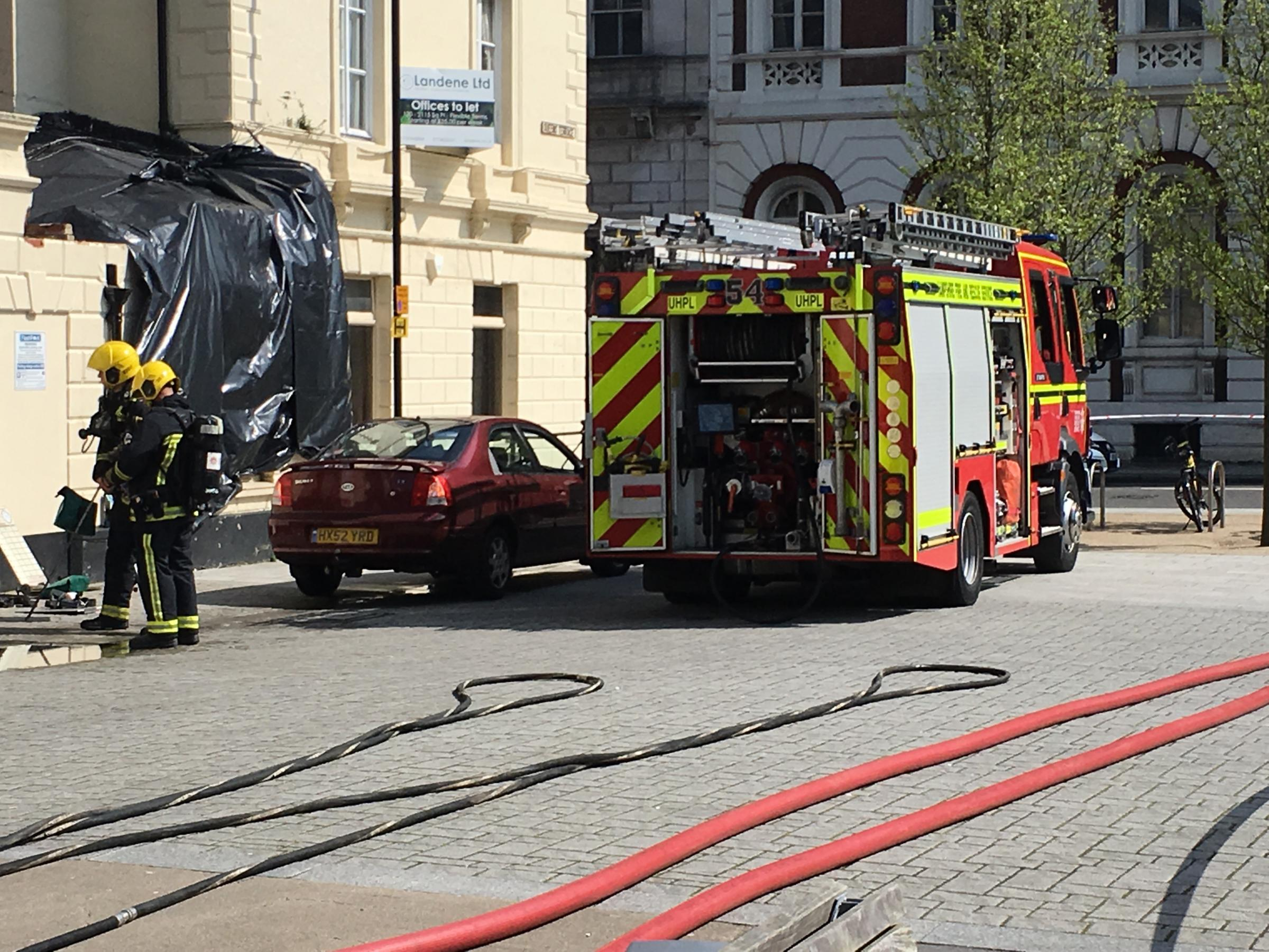 Firefighters tackling the fire at Kuti's Brasserie in Oxford Street, Southampton.