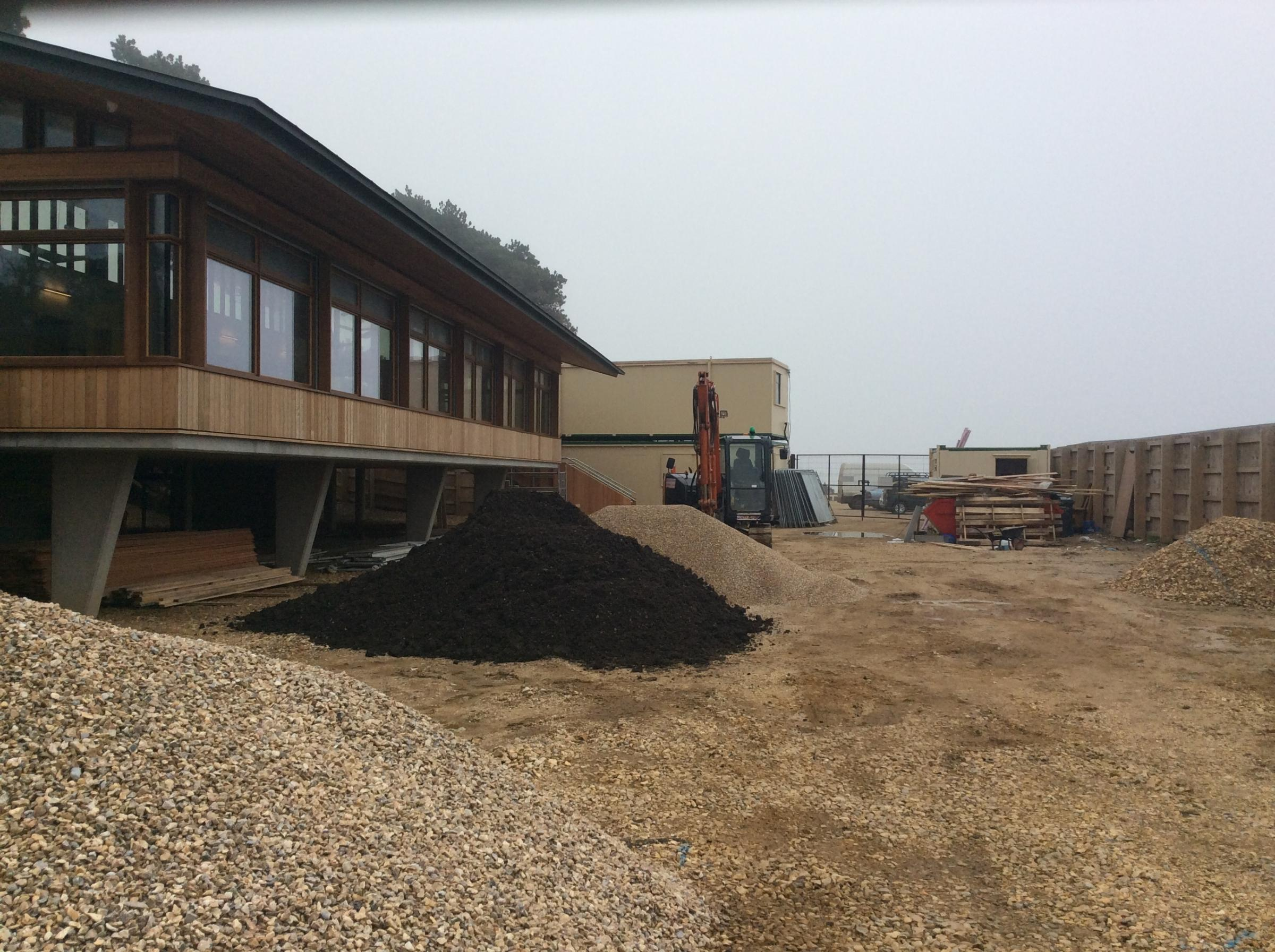 The new cafe and visitor centre being built at Lepe Country Park.