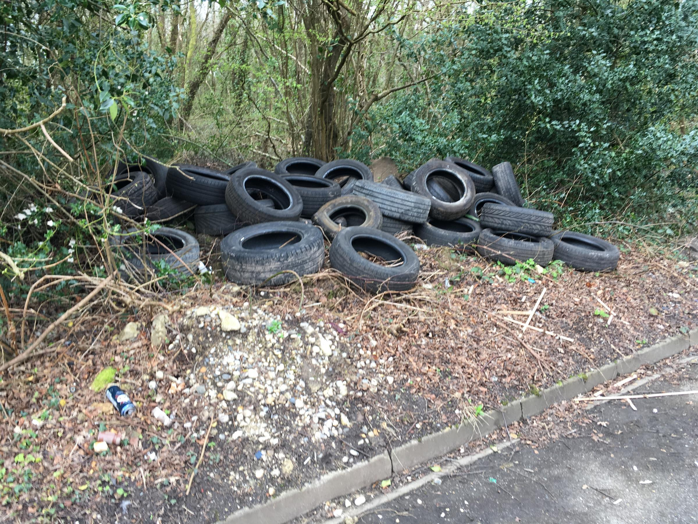 50 tyres dumped outside St Boniface Court in North Baddesley