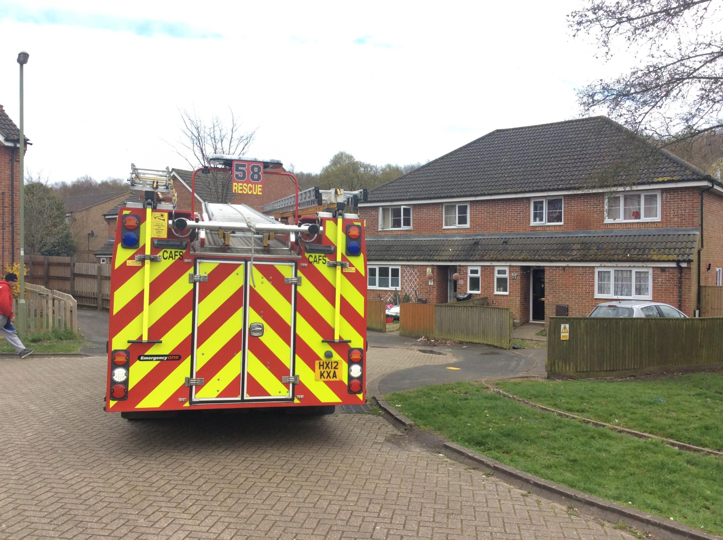 Firefighters at the scene in Hedley Close