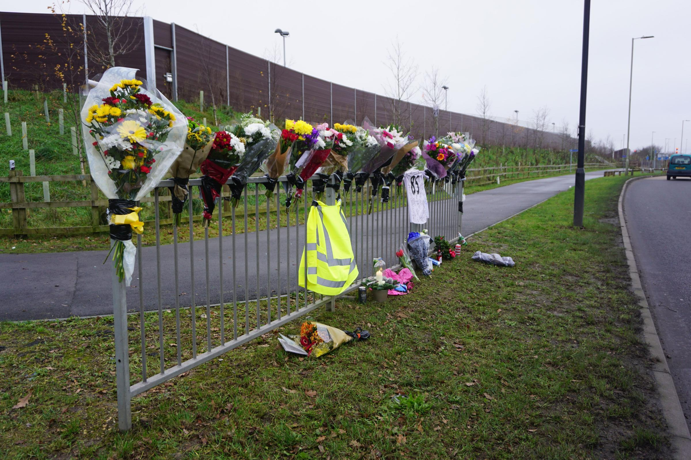 Tributes left at the scene of the tragedy.