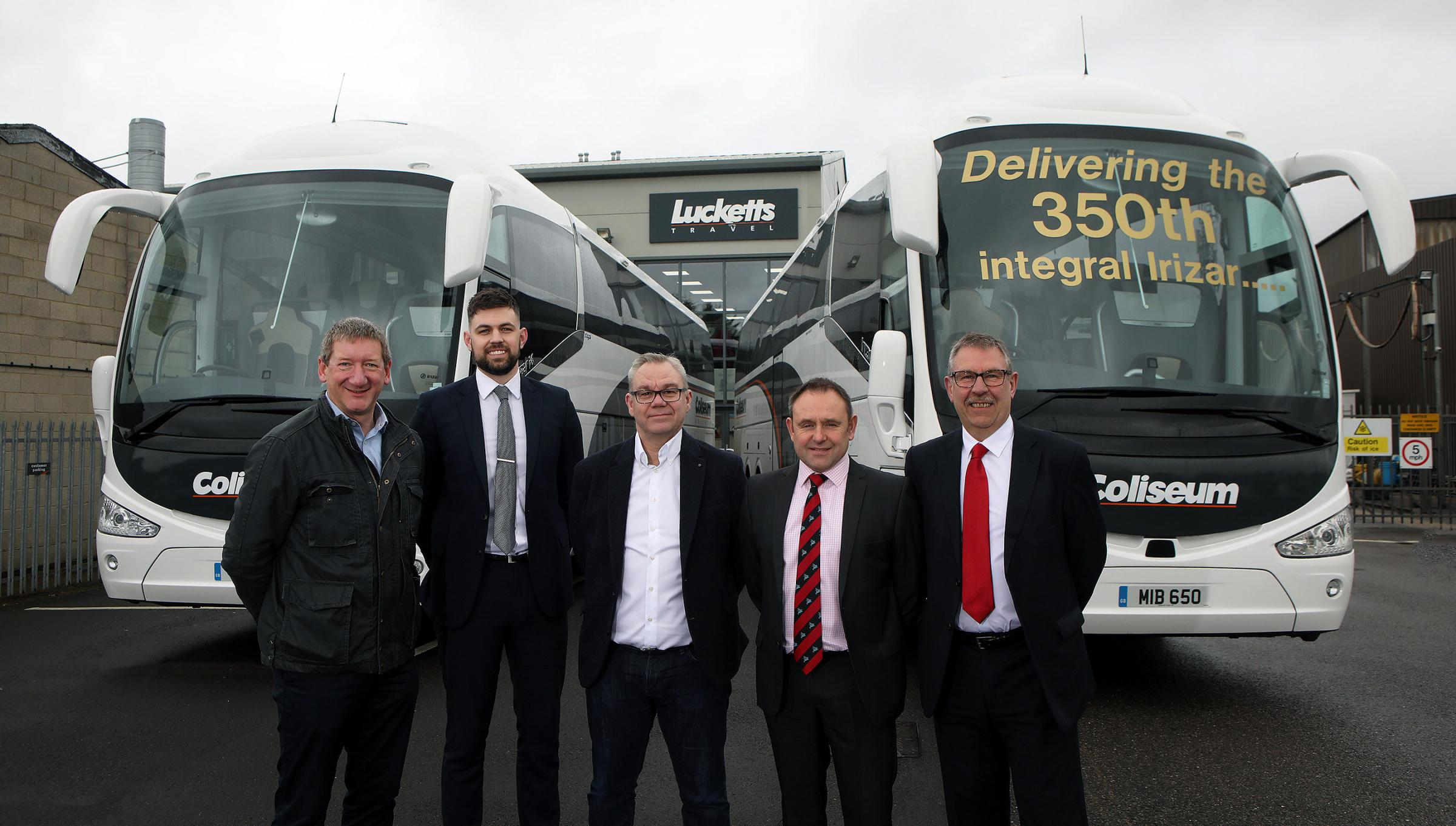 Ian Luckett, director at Lucketts Group and Coliseum Coachces, Charlie Disney, Regional Manager, Santander Corporate Bank, Steve O'Neill, Director, Irizar UK, Tony Lawman, managing director at Lucketts Group and Coliseum Coaches, Geoff Eavis, Santan