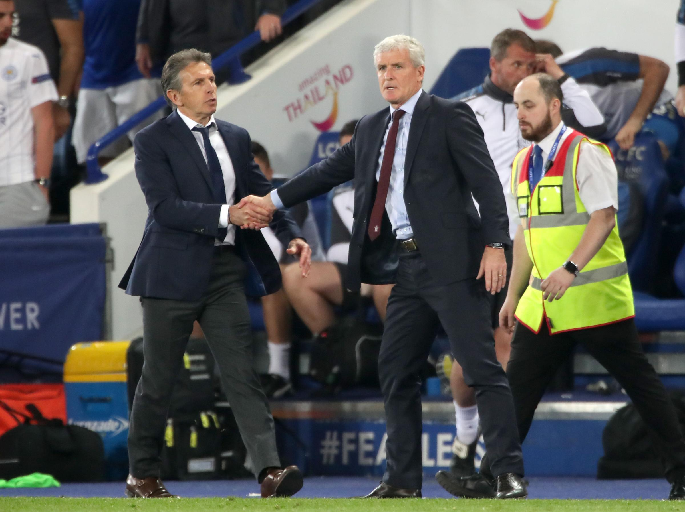 Mark Hughes with Claude Puel at Leicester