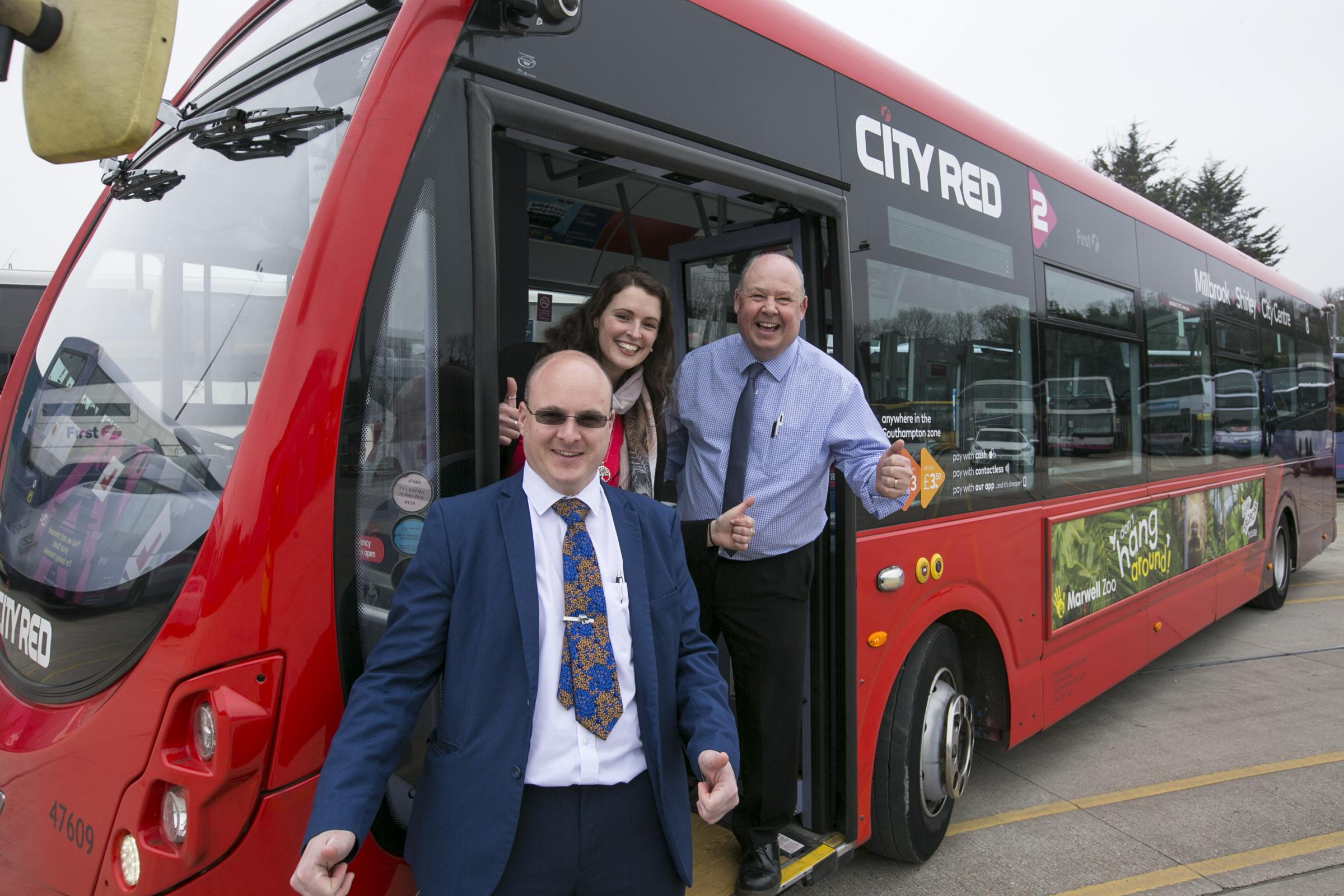 Pictured l to r: Dave York (staff manager for First Bus in Southampton), Nikki Rees from the ABP Southampton Marathon and Chris Chester (Operations manager at First Hampshire Dorset and Berkshire).