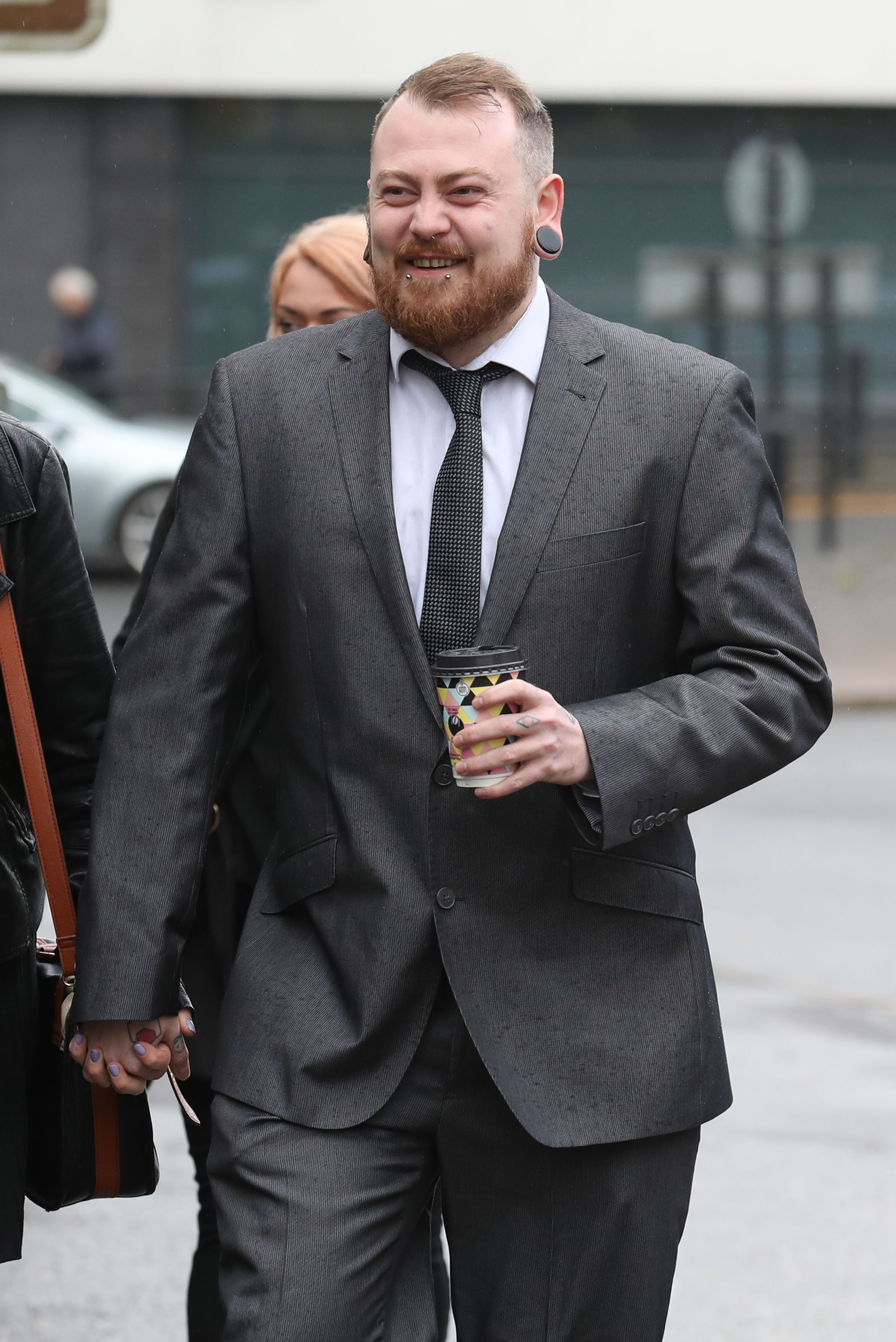 Mark Meechan arrives at Airdrie Sheriff Court for sentencing after he was found guilty of an offence under the Communications Act for posting a YouTube video of a dog giving Nazi salutes. PRESS ASSOCIATION Photo. Picture date: Monday April