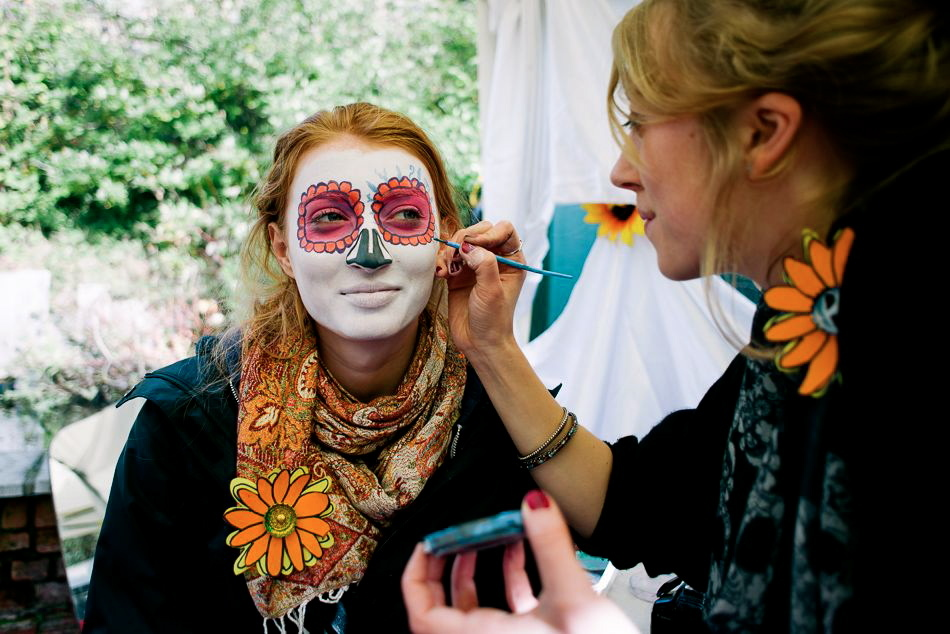 Facepainting in Day of the Dead style, at Dead Good Days event