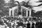The unveiling of the Titanic Engineers' Memorial in St Andrew's Park, Southampton, in April 1914. The  unveiling ceremony was performed by Sir Archibald Denny, president of the Institute of Marine Engineers, in the presence of thousands of sympath