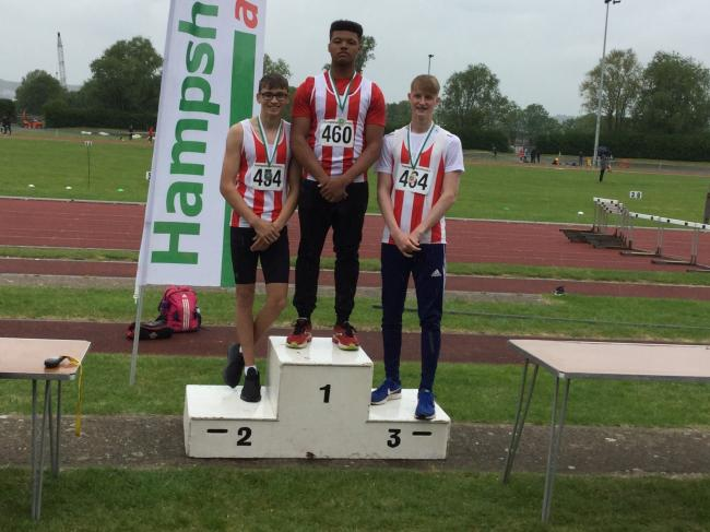 Southampton AC's under-17 boys pull off a discus one-two-three