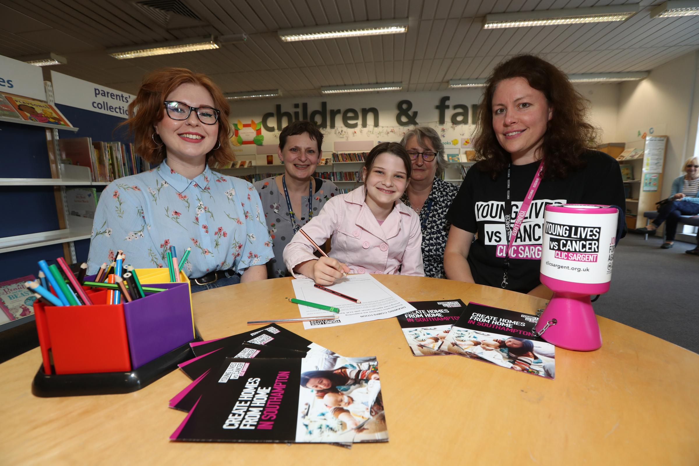 Launch of a drawing competition at Shirley Library in aid of Clic Sargent (l-r) Blogger and illustrator Amy Harwood, Cath Brear Shirley Library, Milly Phillips (11), Fran Simonis Shirley Library and Liz Blunt Clic Sargent.