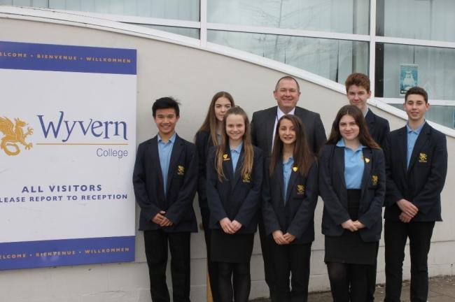 Headteacher Alan Newton with Wildern students