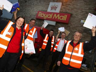RELY ON US: Posties Kerry Fuller, Keith Cole, Alex Vale, depot manager Paul Farthing and Tom Adamson.