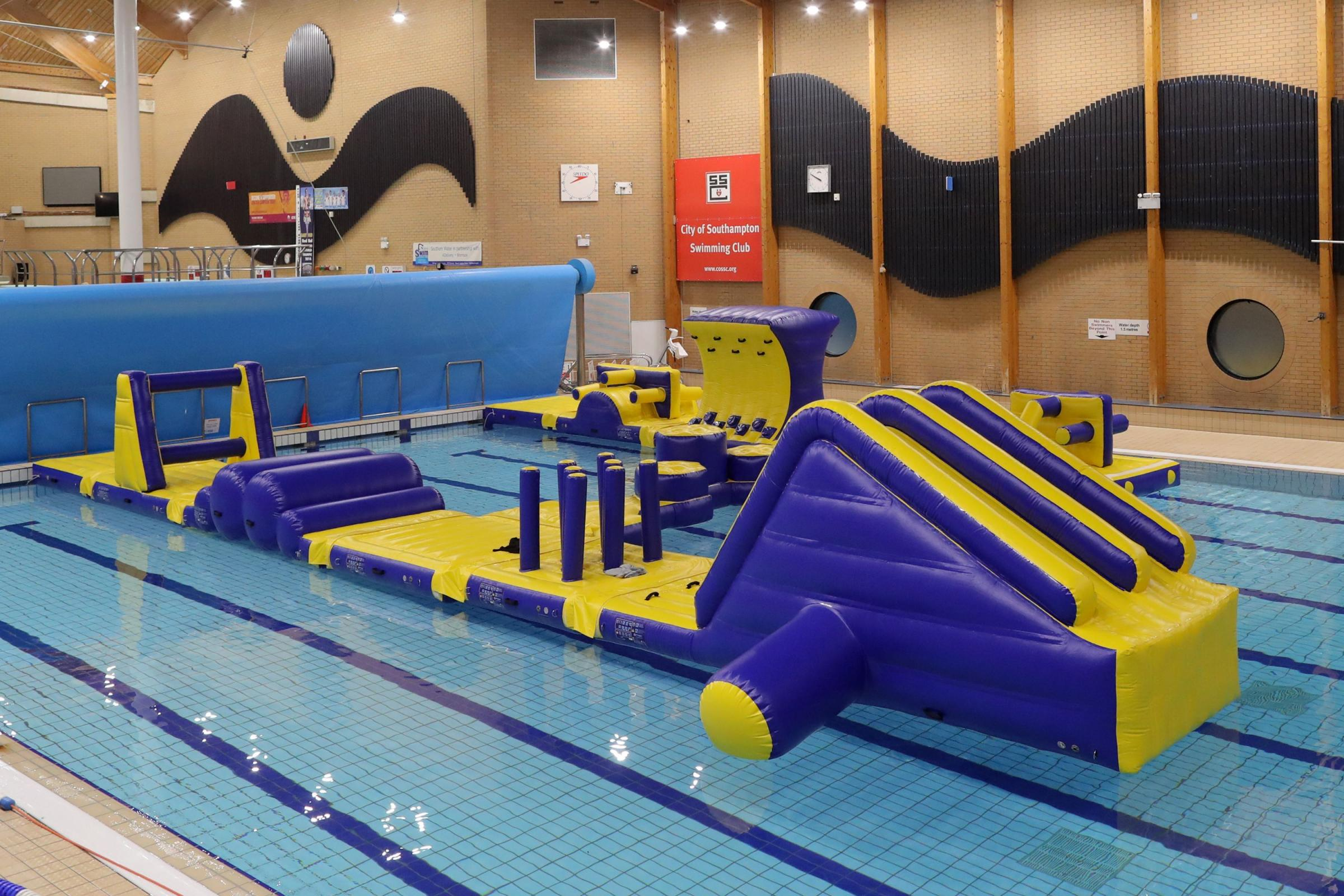 The new Aqua Warrior inflatable assault course at The Quays Swimming & Diving Complex.