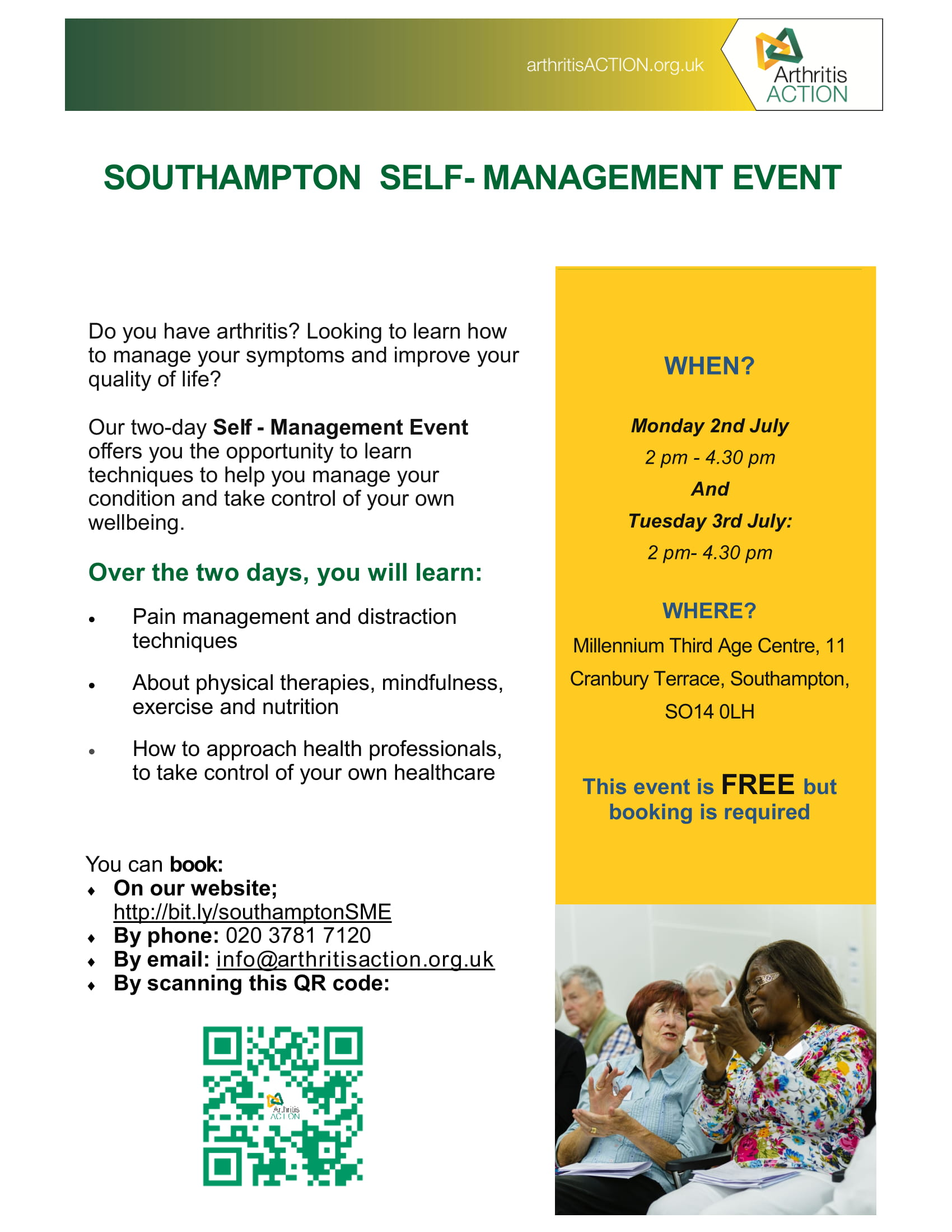 Arthritis Action SelfManagement event on 2 July at 1400