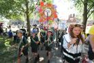 Winchester Hat Fair 2018 - St Faiths School lead the Hat Fair Parade.