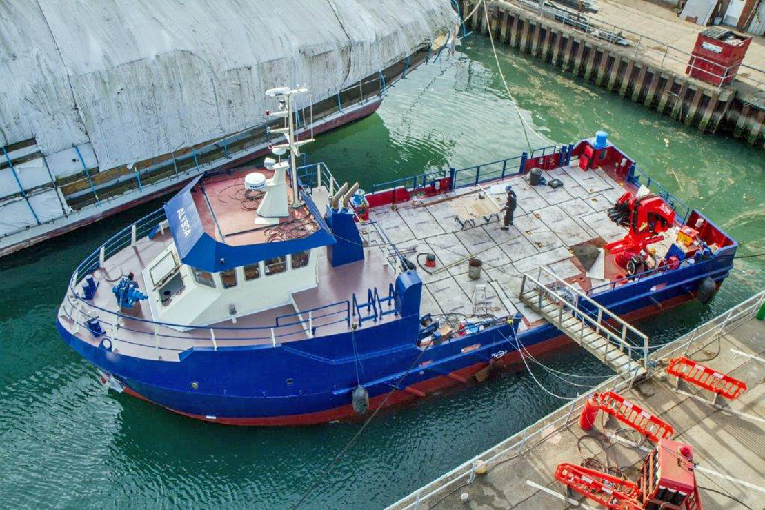 "A Southampton Marine Services workboat (SMS). ""The Southampton headquartered ship repairer and marine engineering services provider, SMS, has partnered with WorkBoatSales.com to market its proven range of BULLDOG workboats internationally; the partn"