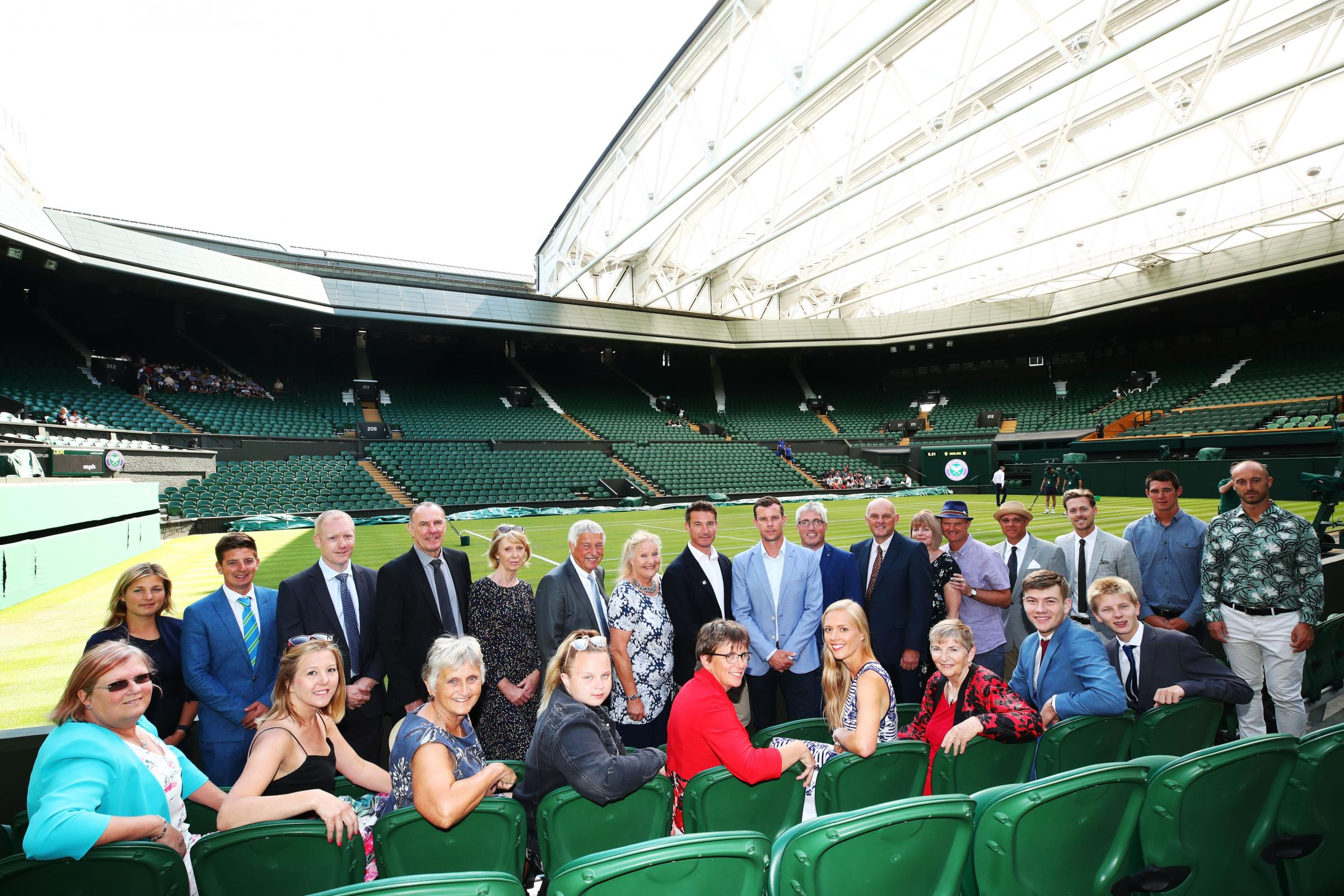 British Tennis award winners at Wimbledon including representatives from Totton & Eling Tennis Centre (Back row, third, fourth and fifth from left)