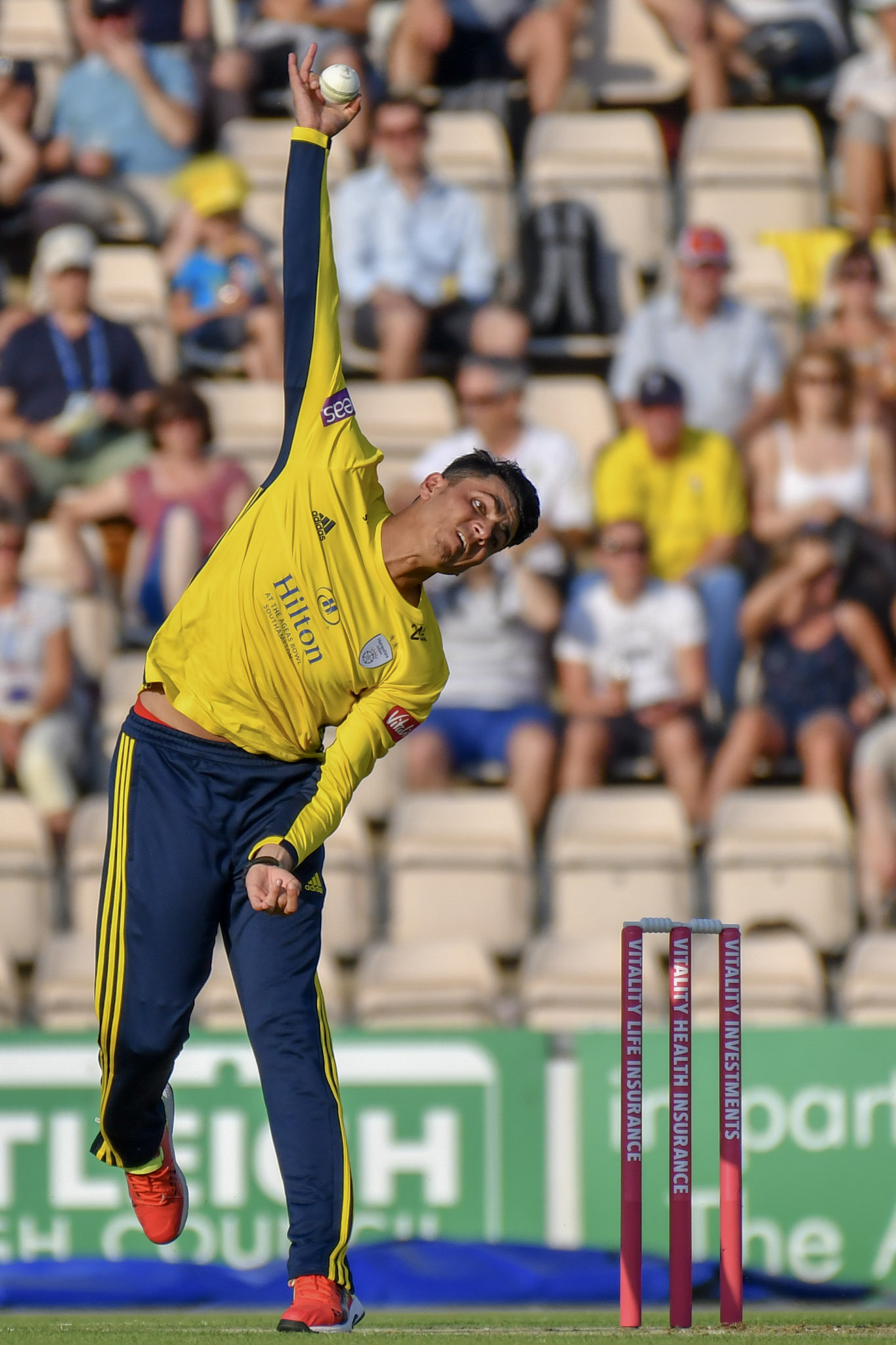 Mujeeb Ur Rahman bowling in the Vitality Blast (Photo  by Michael Berkeley)