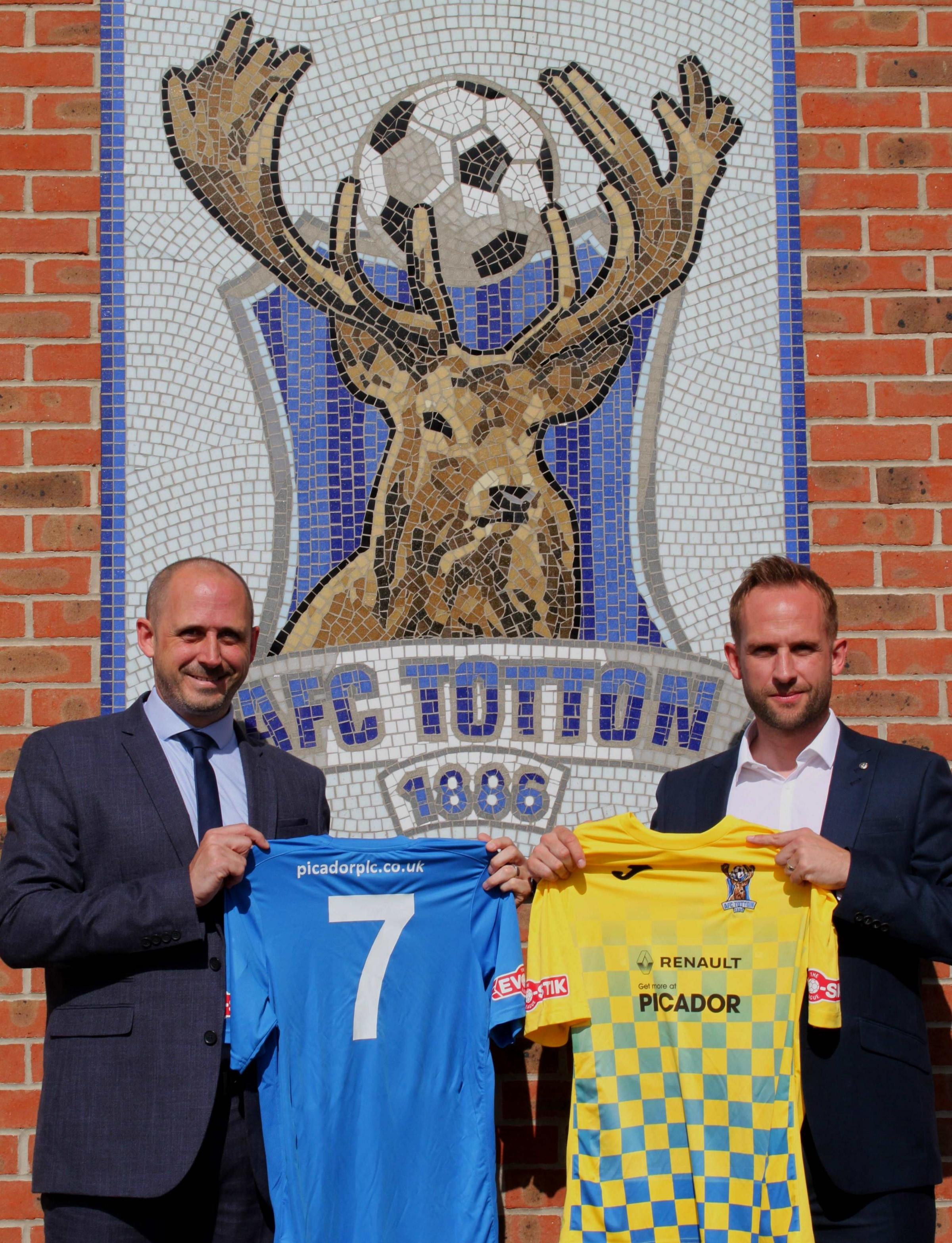 Picador group marketing manager Paul Wilde (left) with AFC Totton assistant manager Adam Wilde