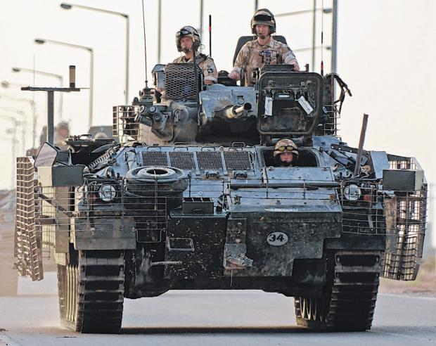 A patrol from the Princess of Wales's Royal Regiment at Basra Air Station.