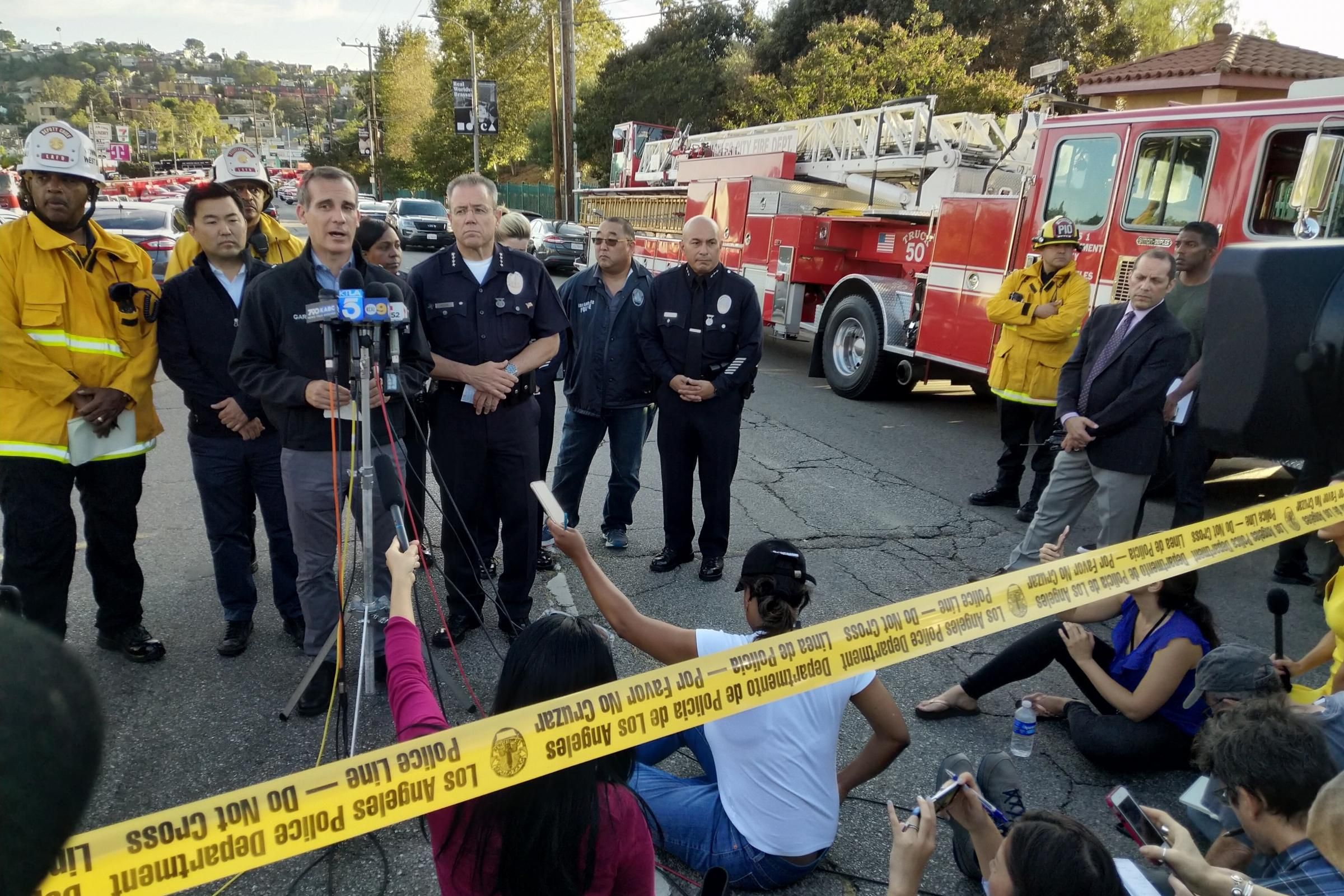 Mayor Eric Garcetti speaks during a news conference about the incident at a Trader Joe's supermarket