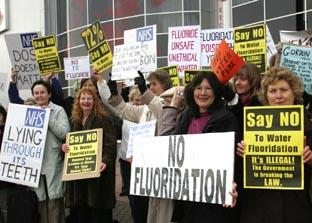 Daily Echo: Anti-fluoride campaigners outside the meeting