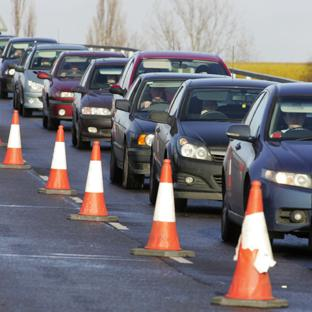 Traffic has been queuing to get through the A33 roadworks
