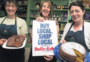PIECE OF CAKE: Campaign supporters, left to right: Penny Richardson, Sue Mongey and Frances Carroll all of Bonne Bouche.  Order no: 8292358