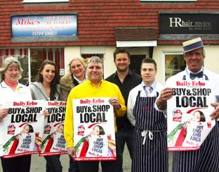 JOINING CAMPAIGN: Butcher Mike Barrett with fellow traders in West Wellow. Echo picture by Paul Collins. Order no: 8302600
