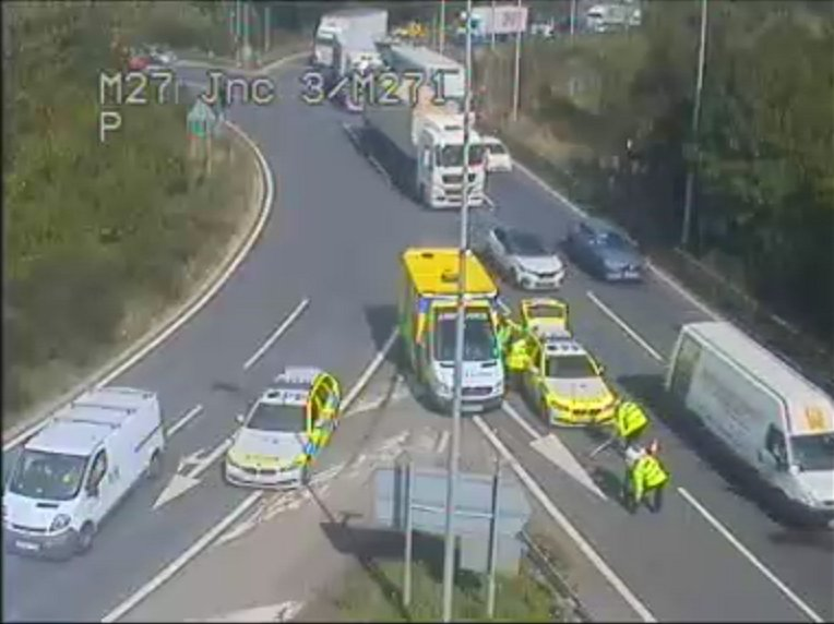 Emergency services at scene of crash on M271 - Photo by ROMANSE