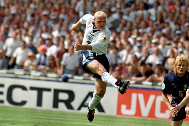 File photo dated 15-06-1996 of Paul Gascoigne scores England's second goal in spectacular fashion as Scotland's Colin Hendry (r) can only look on. PRESS ASSOCIATION Photo. Issue date: Wednesday June 1, 2016. England's tournament ignited with a