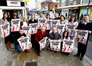 SHOW OF SUPPORT: Independent traders in East Street, Southampton, give their backing to the Daily Echo's Buy Local, Shop Local campaign. Echo picture