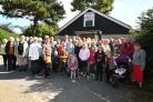 The congregations from St John's Church, Locks Heath, outside the memorial hall