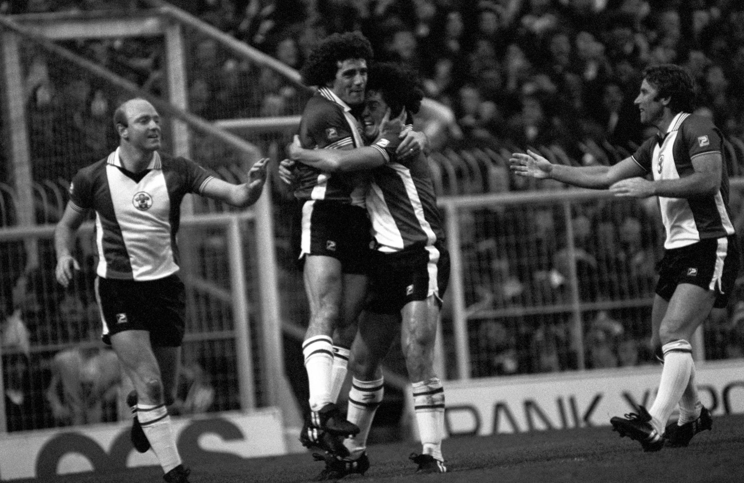 Kevin Keegan celebrates a goal against Manchester United